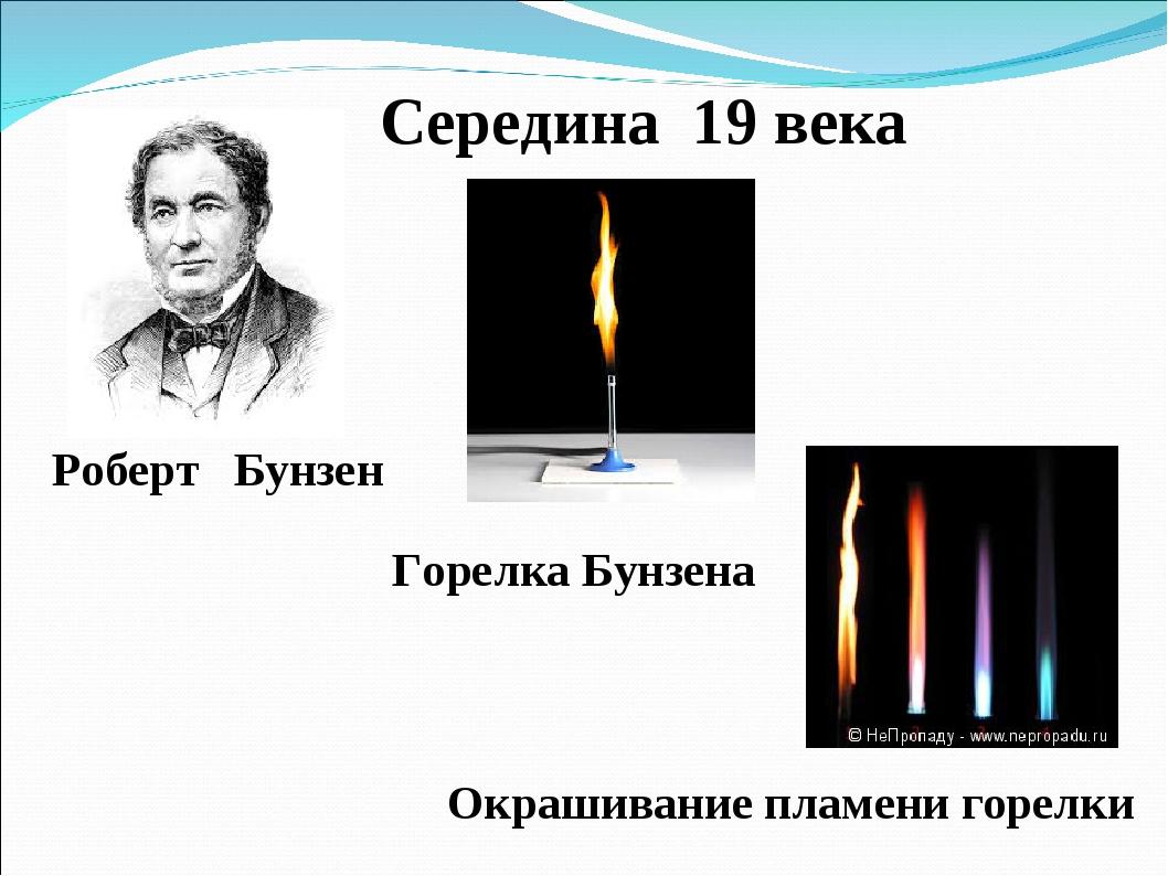 Середина 19 века Роберт Бунзен Горелка Бунзена Окрашивание пламени горелки