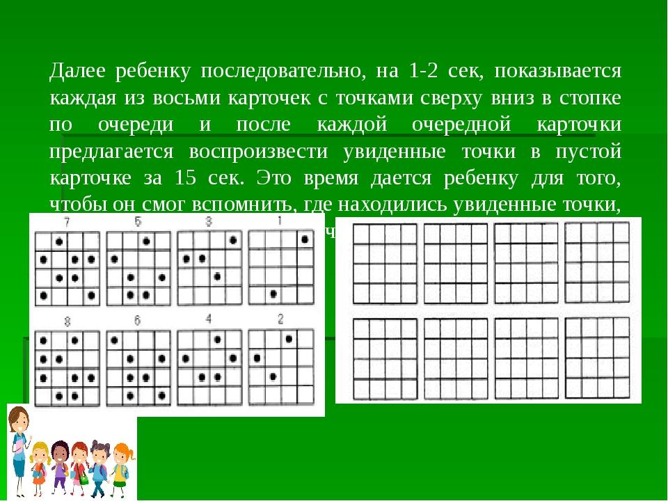 Далее ребенку последовательно, на 1-2 сек, показывается каждая из восьми карт...
