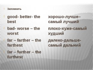 Запомнить good- better- the best bad- worse – the worst far – farther – the f