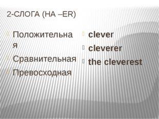 2-СЛОГА (НА –ER) Положительная Cравнительная Превосходная clever cleverer the