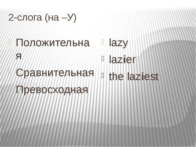2-слога (на –У) Положительная Cравнительная Превосходная lazy lazier the lazi...