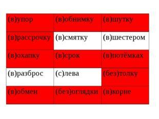 (в)упор (в)обнимку (в)шутку (в)рассрочку (в)смятку (в)шестером (в)охапку (в)с