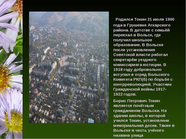 Родился Токин 21 июля 1900 года в Грушевке Аткарского района. В детстве с с...