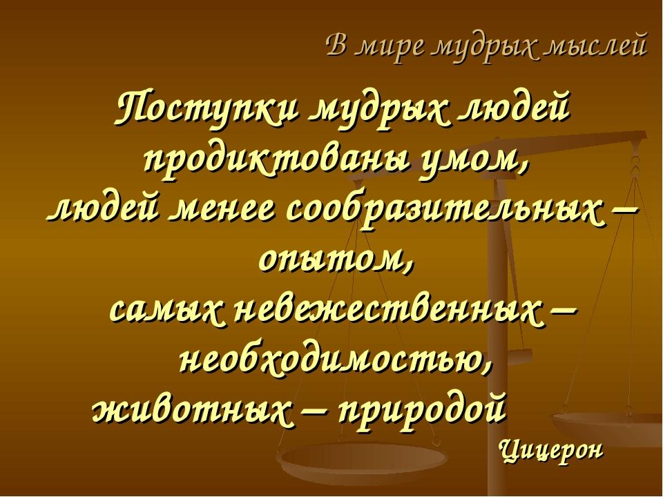 Поступки мудрых людей продиктованы умом, людей менее сообразительных – опытом...