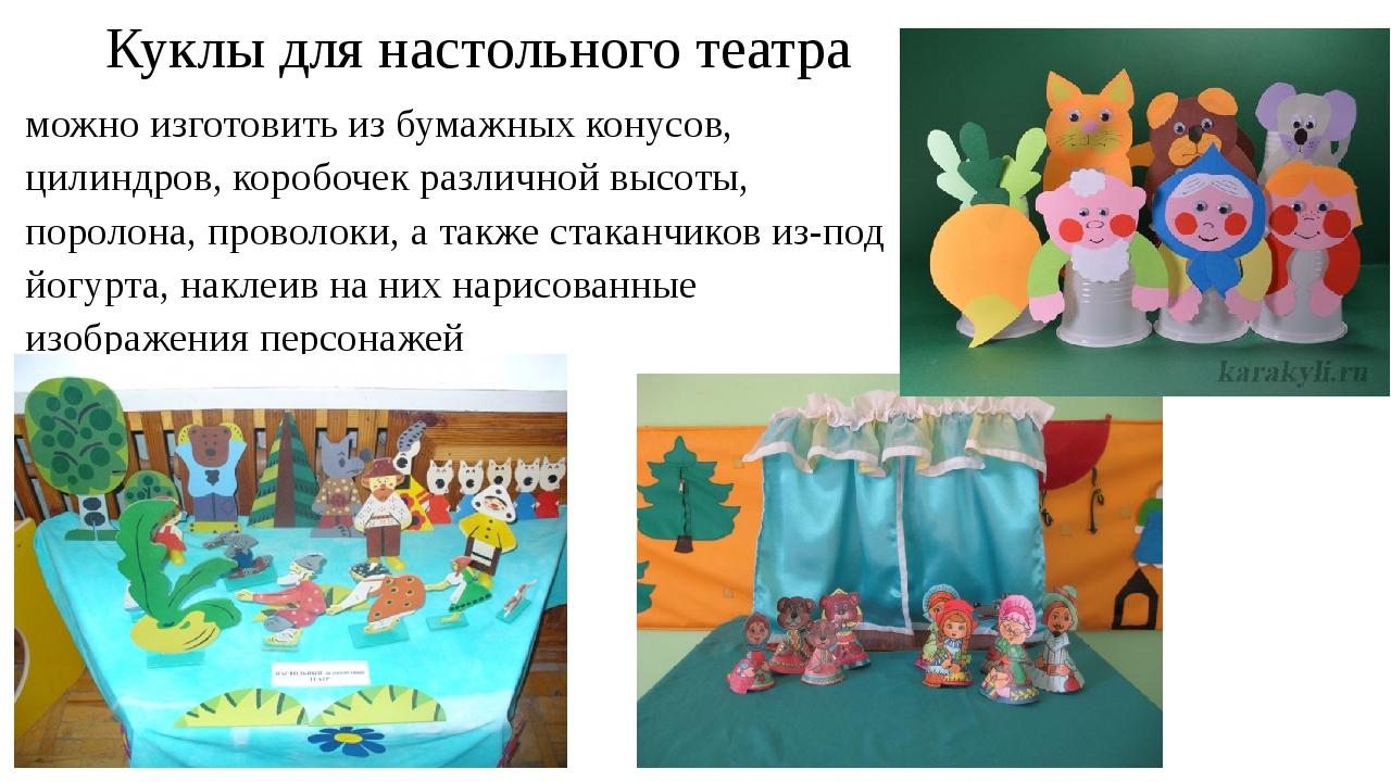 Куклы для настольного театра можно изготовить из бумажных конусов, цилиндров,...