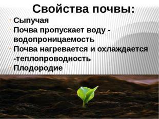 Свойства почвы: Сыпучая Почва пропускает воду - водопроницаемость Почва нагр