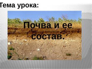 Почва и ее состав. Тема урока: