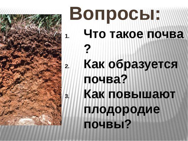 Вопросы: Что такое почва ? Как образуется почва? Как повышают плодородие почвы?