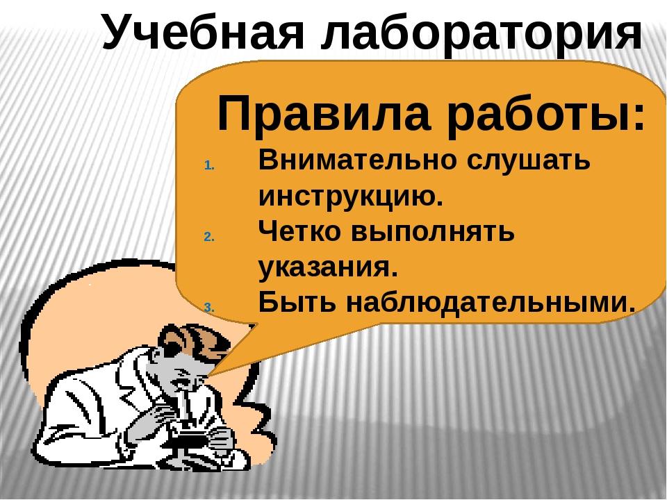 Учебная лаборатория Правила работы: Внимательно слушать инструкцию. Четко вып...