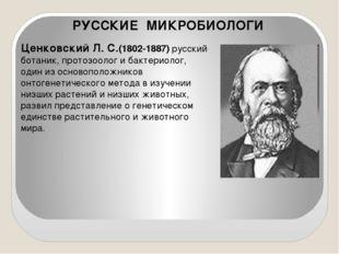 Ценковский Л.С.(1802-1887) русский ботаник, протозоолог и бактериолог, один