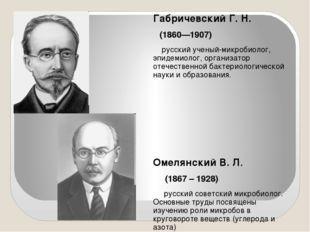Габричевский Г. Н. (1860—1907) русский ученый-микробиолог, эпидемиолог, орга
