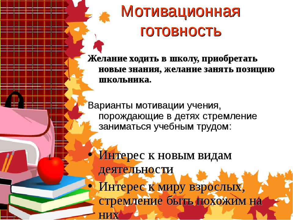 Мотивационная готовность Желание ходить в школу, приобретать новые знания, же...