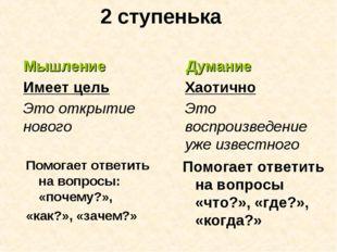 2 ступенька Помогает ответить на вопросы: «почему?», «как?», «зачем?» Мышлени