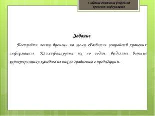 3 задание «Развитие устройств хранения информации» Задание Постройте ленту вр