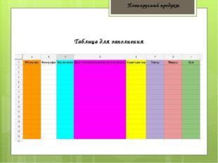 Планируемый продукт Таблица для заполнения
