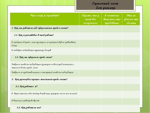 Оценочный лист для ученика Что и как я оцениваю? Думаю, что у меня все получи...