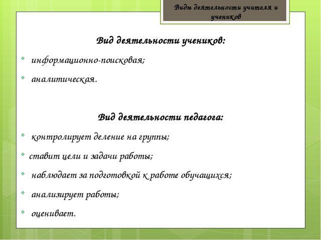 Виды деятельности учителя и учеников Вид деятельности учеников: информационно...