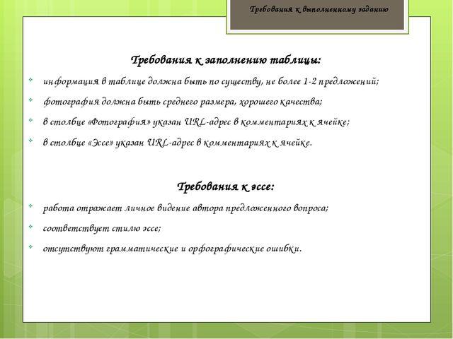 Требования к выполненному заданию Требования к заполнению таблицы: информация...