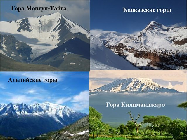 Горы Тянь-Шань Кавказские горы Альпийские горы Гора Килиманджаро Гора Монгун-...