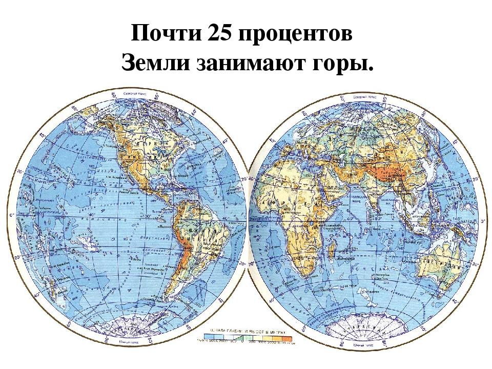 Почти 25 процентов Земли занимают горы.