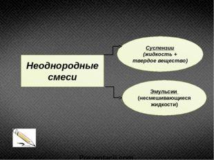 Неоднородные смеси Суспензии (жидкость + твердое вещество) Эмульсии (несмешив