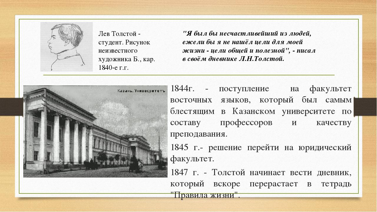 1844г. - поступление на факультет восточных языков, который был самым блестя...