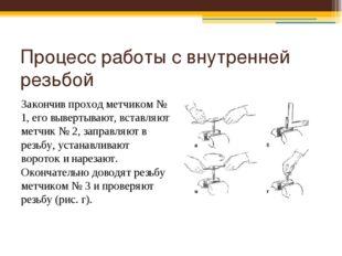 Процесс работы с внутренней резьбой Закончив проход метчиком № 1, его выверты