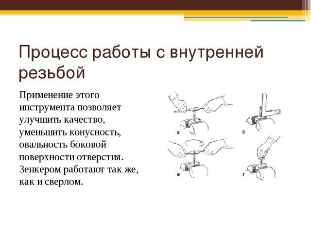 Процесс работы с внутренней резьбой Применение этого инструмента позволяет ул...