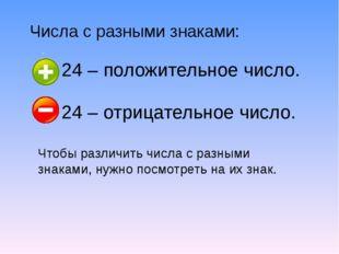 Числа с разными знаками: 24 – положительное число. 24 – отрицательное число.