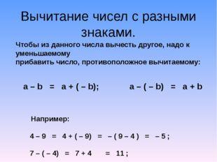 Вычитание чисел с разными знаками. Чтобы из данного числа вычесть другое, над