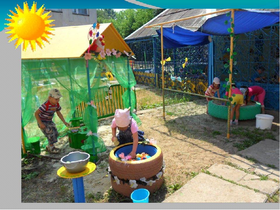 Оформление участка в детском саду своими руками летом из шин
