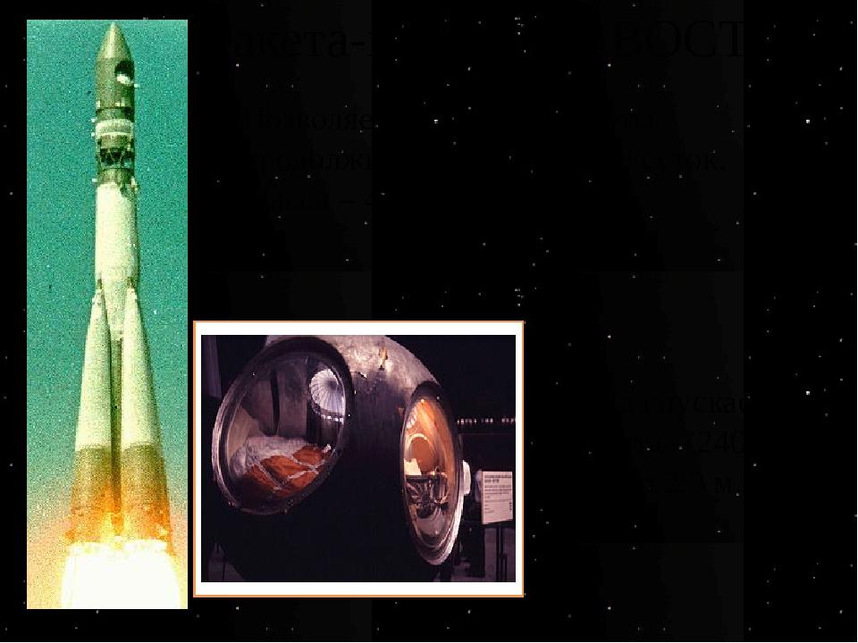 Ракета-носитель «ВОСТОК» Позволяет совершать полеты продолжительностью до 10...