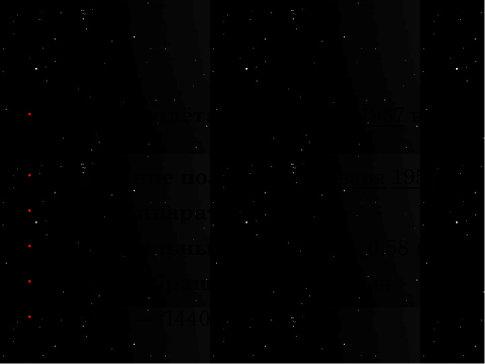 Начало полёта— 4 октября 1957 в 19:28:34 Окончание полёта— 4 января 1958 М...