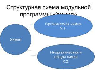 Структурная схема модульной программы «Химия» Химия Органическая химия Х.1. Н