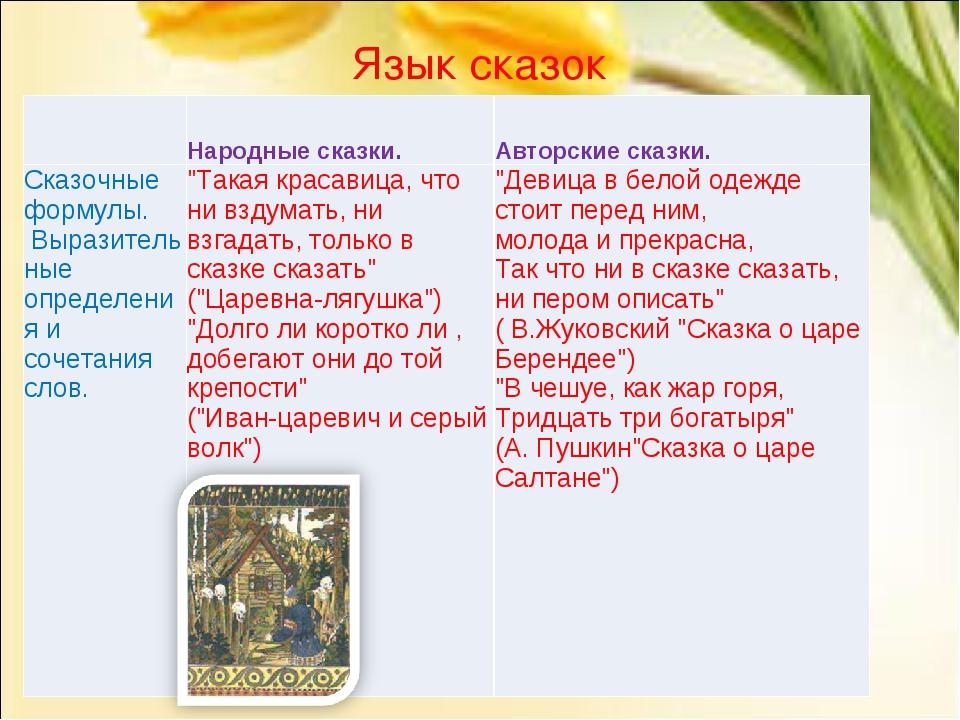 Язык сказок Народные сказки.Авторские сказки. Сказочные формулы. Выразител...