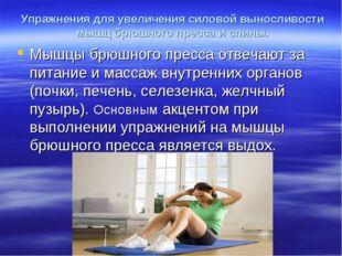 Упражнения для увеличения силовой выносливости мышц брюшного пресса и спины.