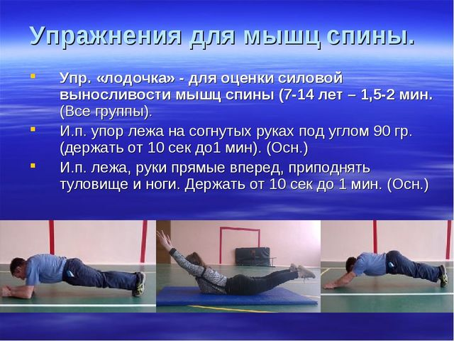 Упражнения для мышц спины. Упр. «лодочка» - для оценки силовой выносливости м...