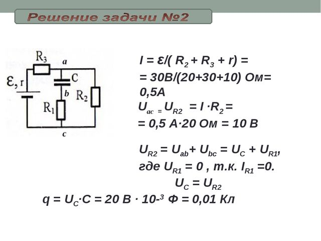 I = ε/( R2 + R3 + r) = = 30В/(20+30+10) Ом= 0,5А Uac = UR2=I ·R2 = = 0,5 А...