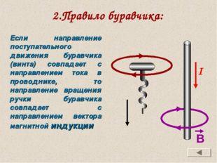 2.Правило буравчика: Если направление поступательного движения буравчика (вин