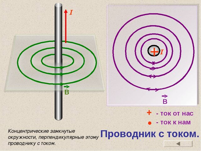 Проводник с током. + - ток от нас - ток к нам Концентрические замкнутые окруж...
