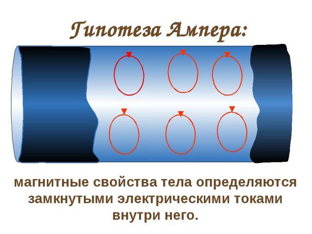 Гипотеза Ампера: магнитные свойства тела определяются замкнутыми электрически...
