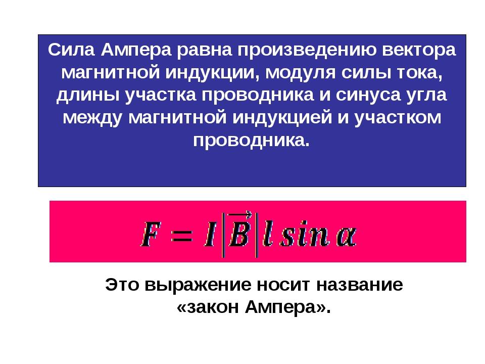 Это выражение носит название «закон Ампера». Сила Ампера равна произведению в...
