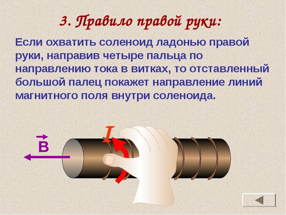 3. Правило правой руки: Если охватить соленоид ладонью правой руки, направив...