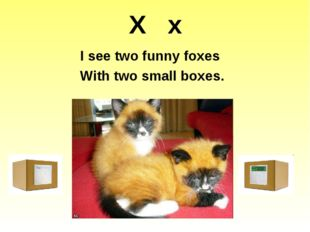 X x I see two funny foxes With two small boxes.