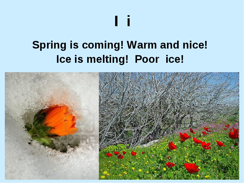 I i Spring is coming! Warm and nice! Ice is melting! Poor ice!