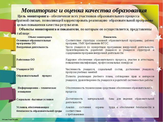 Мониторинг и оценка качества образования Цель мониторинга - обеспечение всех...
