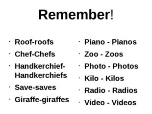 Remember! Roof-roofs Chef-Chefs Handkerchief-Handkerchiefs Save-saves Giraffe