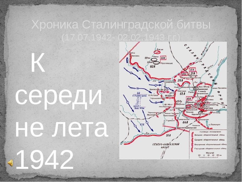 К середине лета 1942 года сражения Великой Отечественной войны докатились до...