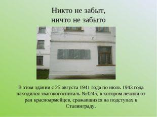 Никто не забыт, ничто не забыто В этом здании с 25 августа 1941 года по июль