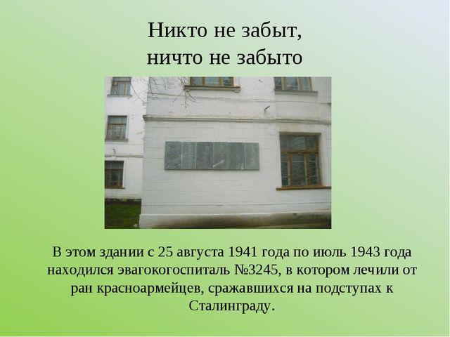 Никто не забыт, ничто не забыто В этом здании с 25 августа 1941 года по июль...